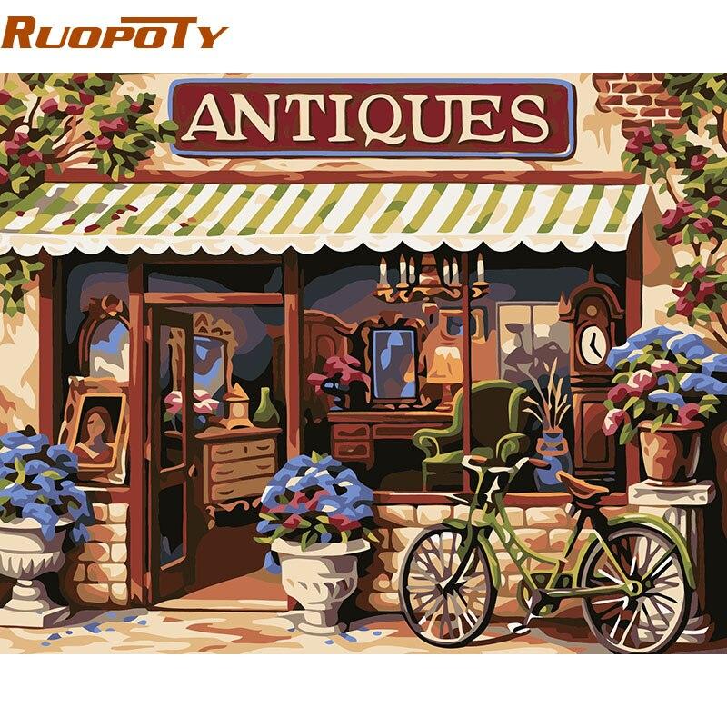 RUOPOTY marco tienda de flores paisaje DIY pintura por números Kits acrílico moderno cuadro de arte de la pared decoración para el hogar