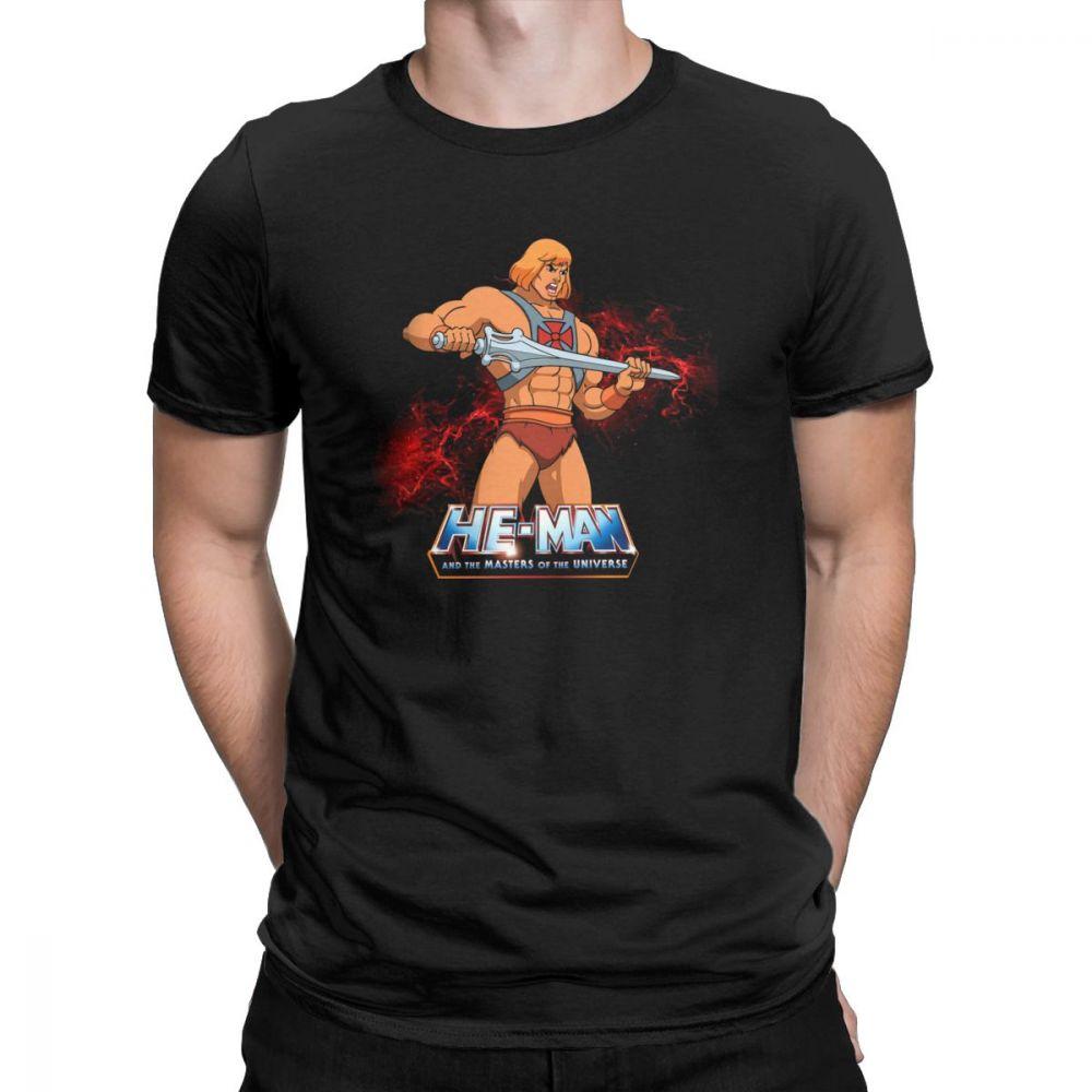 Men T-Shirt He Man Masters Of The Universe Vintage Pure Cotton Tees Short Sleeve T Shirt Crewneck Tops Big Size