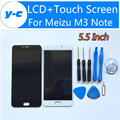 Para meizu m3 note 100% novo display lcd + touch screen digitador assembléia painel de vidro para meizu m3 note 1920x1080 fhd 5.5 polegada