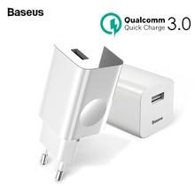 Baseus 24 Вт Quick Charge 3,0 USB зарядное устройство для samsung Xiaomi huawei Быстрая зарядка QC 3,0 путешествия мобильный телефон зарядное устройство ЕС США Plug