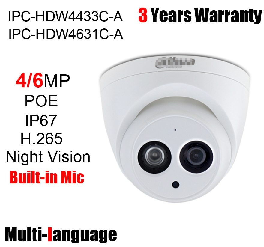 Image 2 - 4MP 6MP POE IP Camera IPC HDW4433C A IPC HDW4631C A IR 30m Built in Mic H.265 Network Camera HDW4433C A HDW4631C A Web Camera-in Surveillance Cameras from Security & Protection