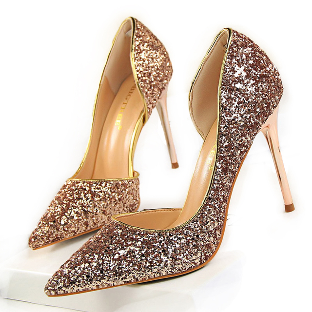 Women Pumps Bling Sexy High Heels Glitter Wedding Party Women Heels Shoes  Female Gold Silver Bridal Shoes Stiletto 9.5CM 868-8 ec18cf2cf213