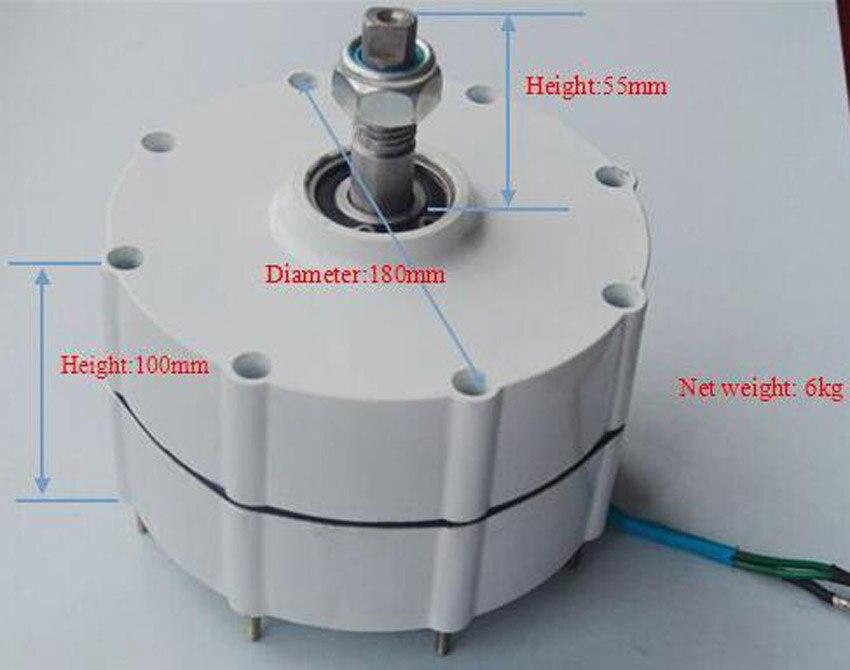 Générateur 300 W avec contrôleur de chargeur de vent 12 V/24 V triphasé AC système de éoliennes à aimant permanent bricolage - 4