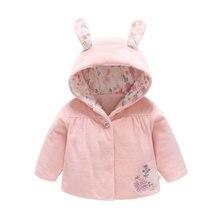Bebê meninas roupas de inverno recém-nascido outerwear botton casaco orelhas com capuz quente dos desenhos animados casaco rosa coelho bolso infantil algodão outerwear