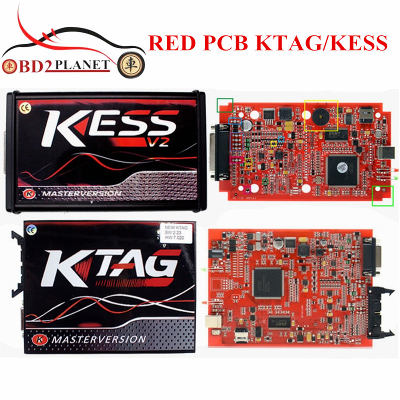 KTAG V7.020 K-TAG V7.020 SW2.23 EU Version Red PCB KESS V5.017 KESS 5.017 SW2.23 V2 No Token Limited Online Version new version v2 13 ktag k tag firmware v6 070 ecu programming tool with unlimited token scanner for car diagnosis