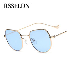 RSSELDN Newest Ocean Small Square Sunglasses Women Fashion 2017 Gold Metal Clear Blue Sun glasses For Men Small Size uv400