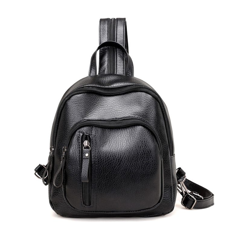 Backpack Women Mochila Mujer 2019 Leather Small Backpack Teenage Black Backpacks Multifunctional School Back Pack Casual Bagpack