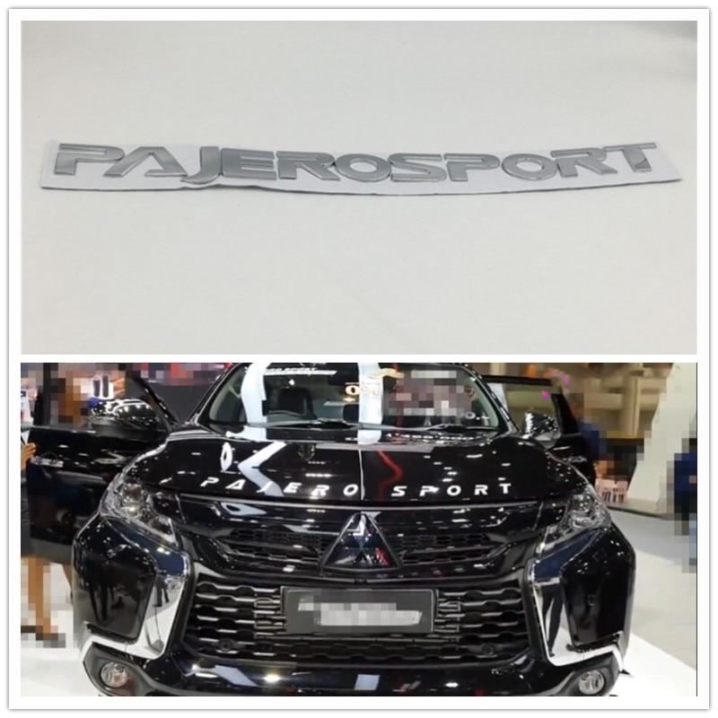 Хром Серебристый для Mitsubishi Pajero Sport логотип на переднюю крышку, эмблема, значок, надпись, автомобильные наклейки