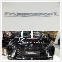 Chrome Silver For Mitsubishi Pajero Sport Front Hood Emblems Logo Script Badge Letter Auto Stickers