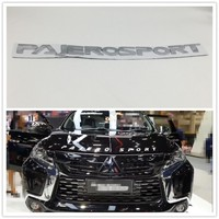 Chrome Silver For Mitsubishi Pajero Sport Front Hood Emblems Logo Script Badge Letter Auto Stickers