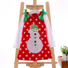 2016 New Baby Girls Christmas Dresses Kids Long Sleeve Bow Dot Snowman Winter Dress 2~7Y