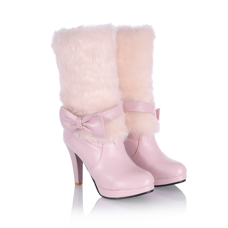 1db27d1ae72a1f ... Nouvelle doux Charme De Fourrure Chaud Bottes D hiver 2016 Haute Talons  chaussures Plate Forme Bottes