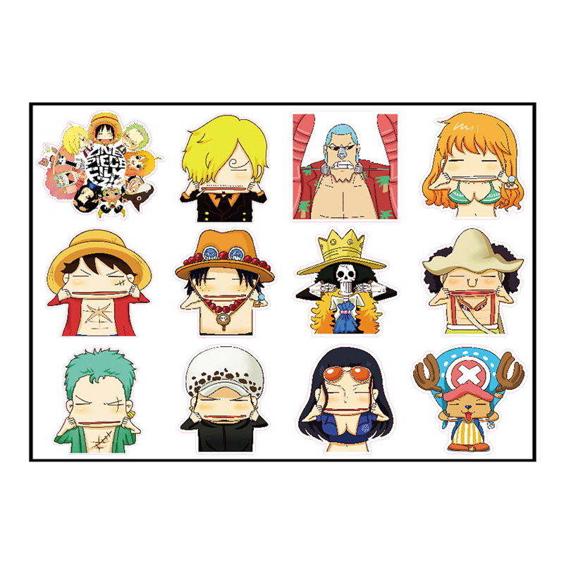 12pcs 6cm One Piece Luffy Grimace Fixed Gear/Luggage/Guitar/Motor/Cars/Refrigerator Stickers 21*29cm Cute ONEPIECE Sticker