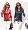 New 2016 fashion women casual shirt tops blouse long sleeve v-neck slim office solid polo shirts ladies blusa feminina