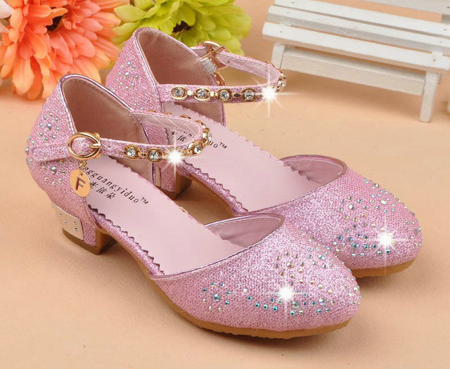 cc7a5ed0ddd New Girls Children s Kids Princess Sandals Leather Shoes with Diamonds Girls  Wedding Shoes High Heels stage