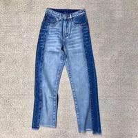 Patchwork spodnie luźne spodnie 2017 spodnie jeansowe damskie kobiety gorące spodnie jeans