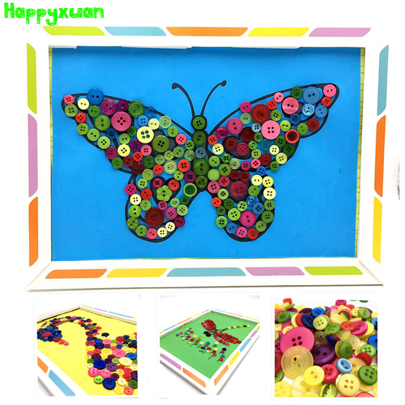 Happyxuan 3pcs Buttons Pictures With Frame Handmade Arts Crafts DIY Toys Kids Creative Preschool Education Materials Paper