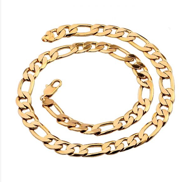 MxGxFam(600*10 мм) 18 GP простое, но элегантное ожерелье тяжелые ювелирные изделия 60 см - Окраска металла: Золотой цвет