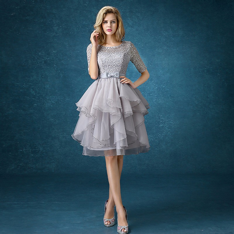 drnwof Half Sleeve Grey Bridesmaid Dresses 2017 New Free Shipping Party Prom Back Lace up women dress 1