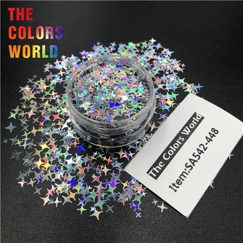 TCT-132, 12 цветов, четыре угла, форма звезд, блестки для ногтей, блестки для украшения ногтей, макияж, боди-арт, сделай сам - Цвет: SA542-448  50g