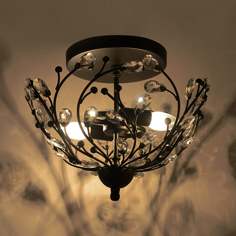 American Country Branches Crystal Ceiling Lamp Retro Industrial Cafe Bar Restaurant Bedroom Balcony Aisle Lights Led Lighting