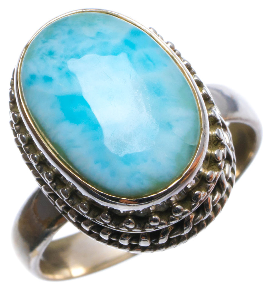 Natural Caribbean Larimar Handmade Unique 925 Sterling Silver Ring, US size 7.75 X2522