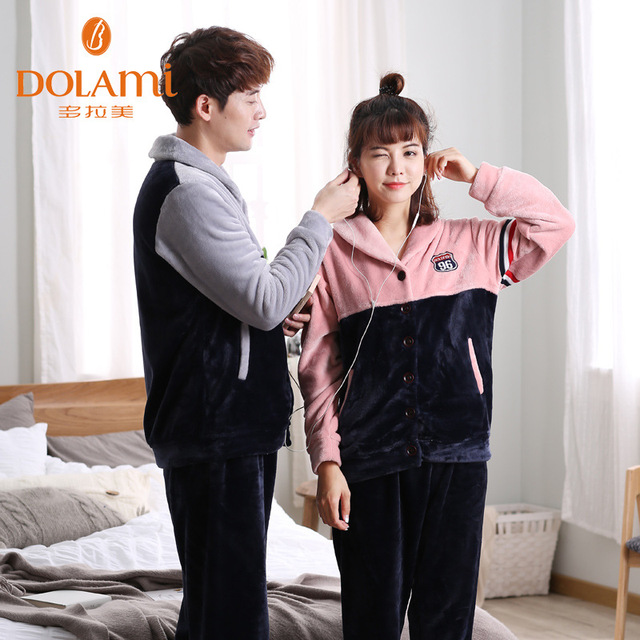2016 Couple matching Patchwork Pajamas Winter Thick Coral Fleece Women Long Sleeve Sleep Lounge Set Warm Flannel Mens Sleepwear