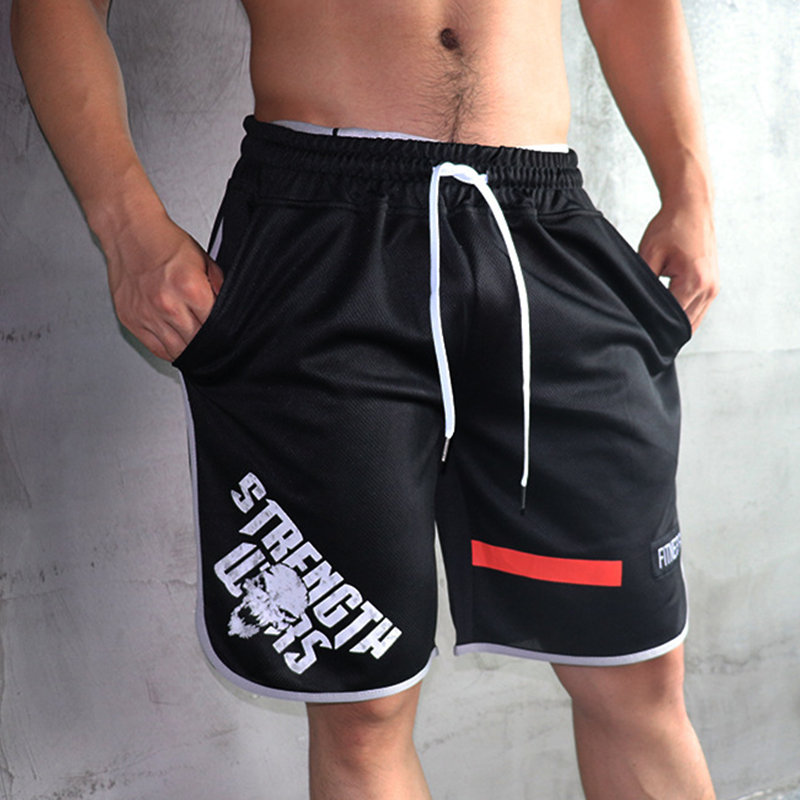 Men Skull Print Loose Breathable Mesh Shorts Gyms Fitness Bodybuilding Workout Jogger Summer Beach Short Pants Plus Size M-5XL