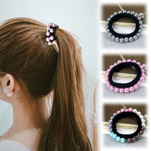 Fashion 1pc Women Girls Graceful Seamless Artificial Pearl Charming Elastic Hair Rope Bands 5 Colors