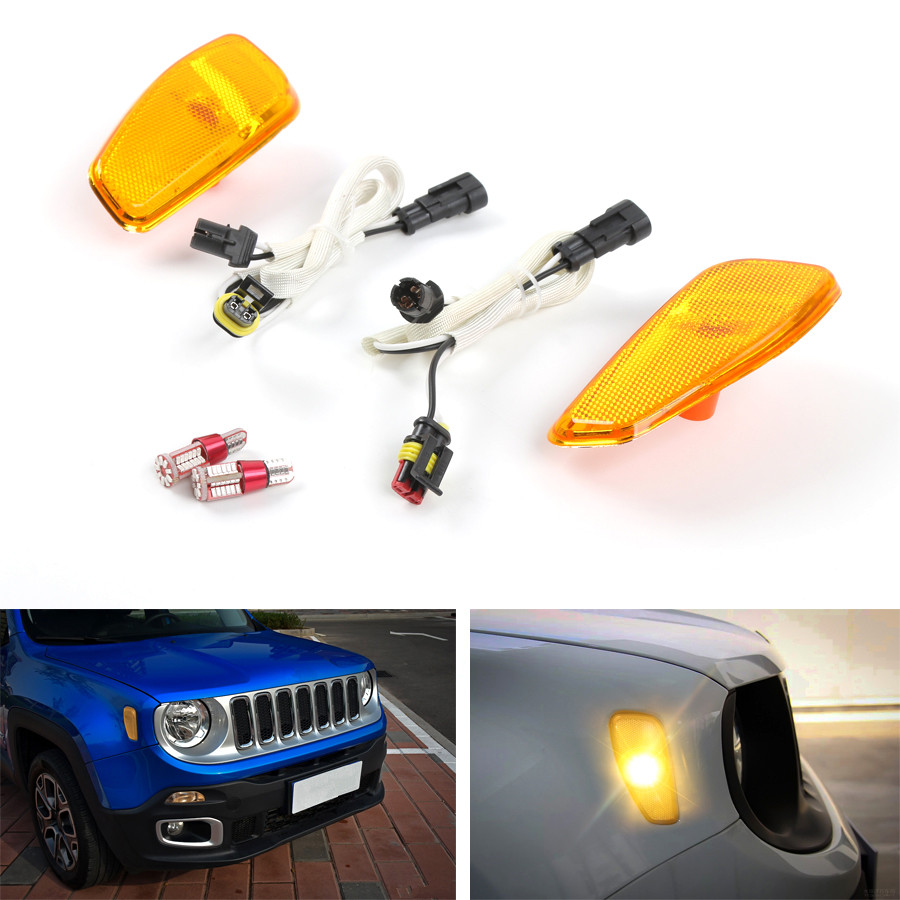 YAQUICKA Car Front Fender Turn Signal LED Light Lamp Fit For Jeep Renegade 2016+ 3 Colors Available 4pcs black led front fender flares turn signal light car led side marker lamp for jeep wrangler jk 2007 2015 amber accessories