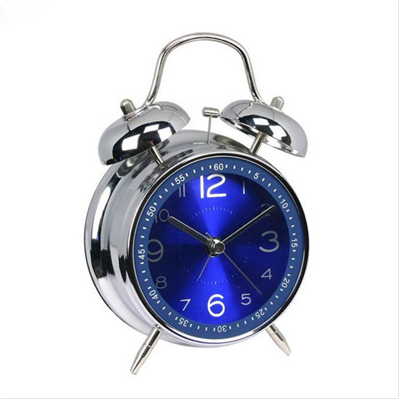 2017 4 Inch Classic Alarm Clock Retro Double Bell Desk Table Alarm Clock Blue/Black Color Drop