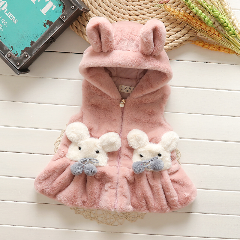 2017 Brand Children New Hooded Vest For Girls faux fur Autumn Winter Coat Kid Fashion Outerwear Warm Coral Fleece Vest 2016 rex rabbit fur vest girls lovely hooded rabbits short coat vest children s solid pink and white short o neck vest for baby