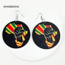 60cm Silver Africa Map Wood Native African United Fist Colorful Earrings Bollywood Vintage Jewelry Wooden DIY Ear Accessory Gift