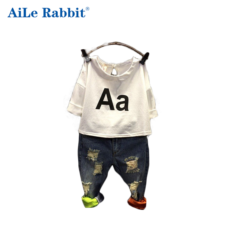 AiLe Rabbit 2017 Girls Clothing Set Kids autumn fashion t shirt + jeans suit Holes denim A letter Children's suits summer Europe