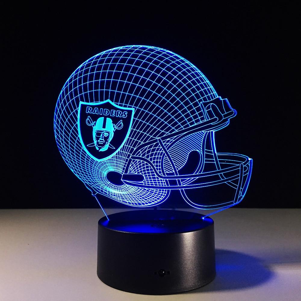 Nfl 3d Wallpaper Novelty Nfl Oakland Raiders Football Helmet Illusion Led