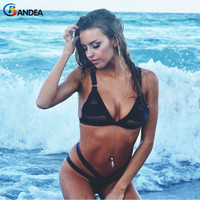 Newest Summer Sexy Bikini Women Swimwear Solid Swimsuit Fashion Mesh Bikini Hollow Thong