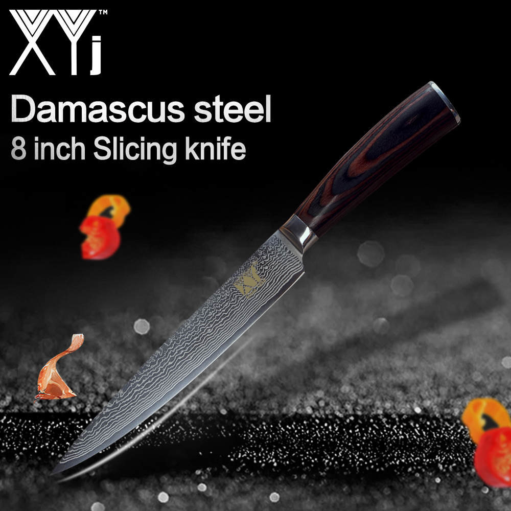 XYj Cuisine Couteaux 8 pouce Damas Couteau À Trancher En Acier Léger Effort Couleur Manche En Bois Nouvelle Arrivée 2018 Cuisine Outils