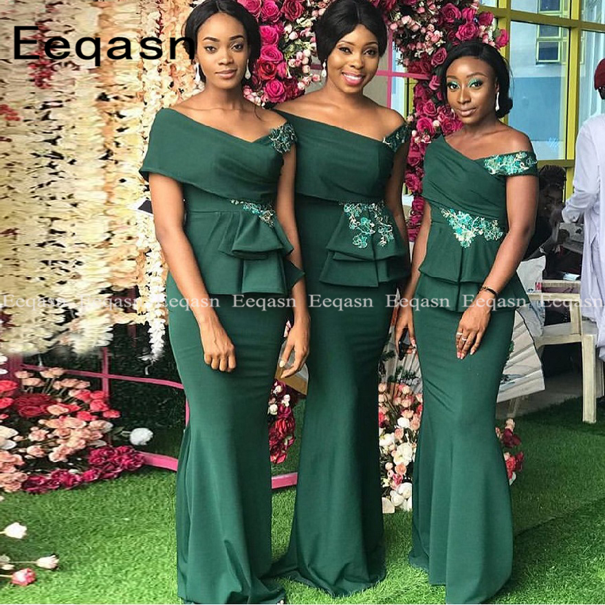Emerald Green Mermaid Bridesmaid Dresses 2020 Long Off The Shoulder Maid Of Honor Dress African Wedding Party For Women