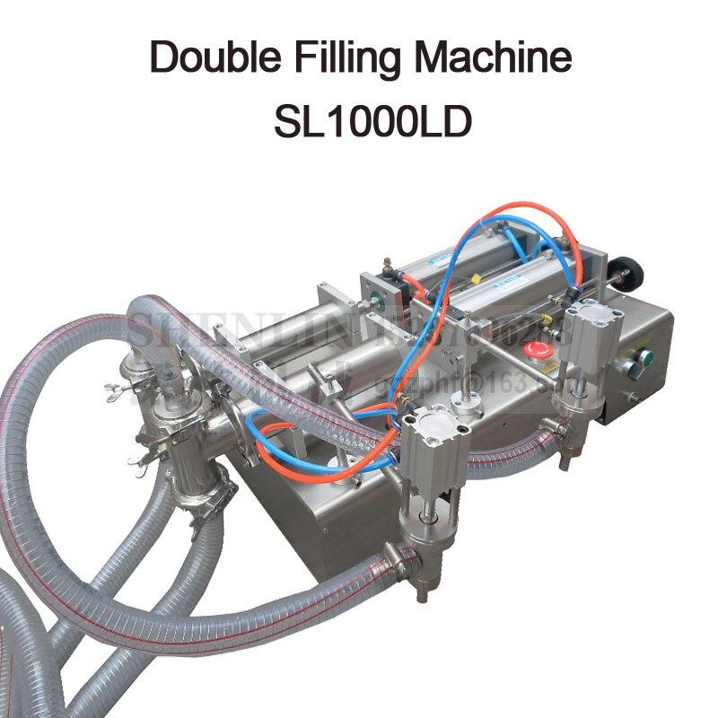 Semi-automatico macchina di rifornimento macchina di rifornimento pneumatica a doppia testa del liquido di riempimento bevanda macchina di rifornimento salsa di SHENLIN