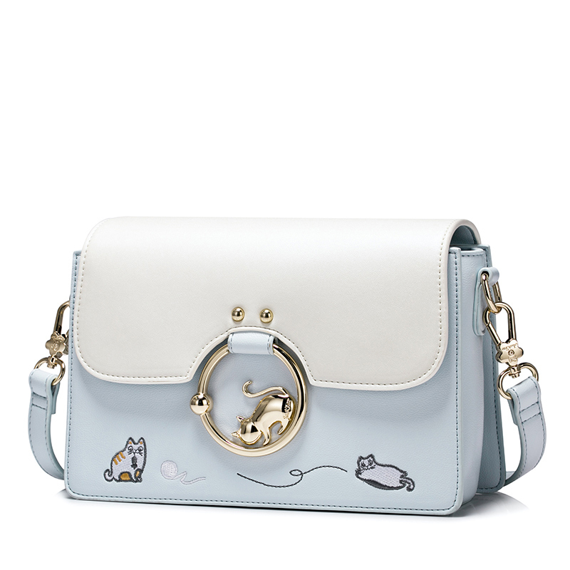 4609991edb Designer brand bags women Lovely Cat Embroidery leather handbags Shoulder  Bag mini bags Woman Messenger Bag purses and handbags-in Shoulder Bags from  ...