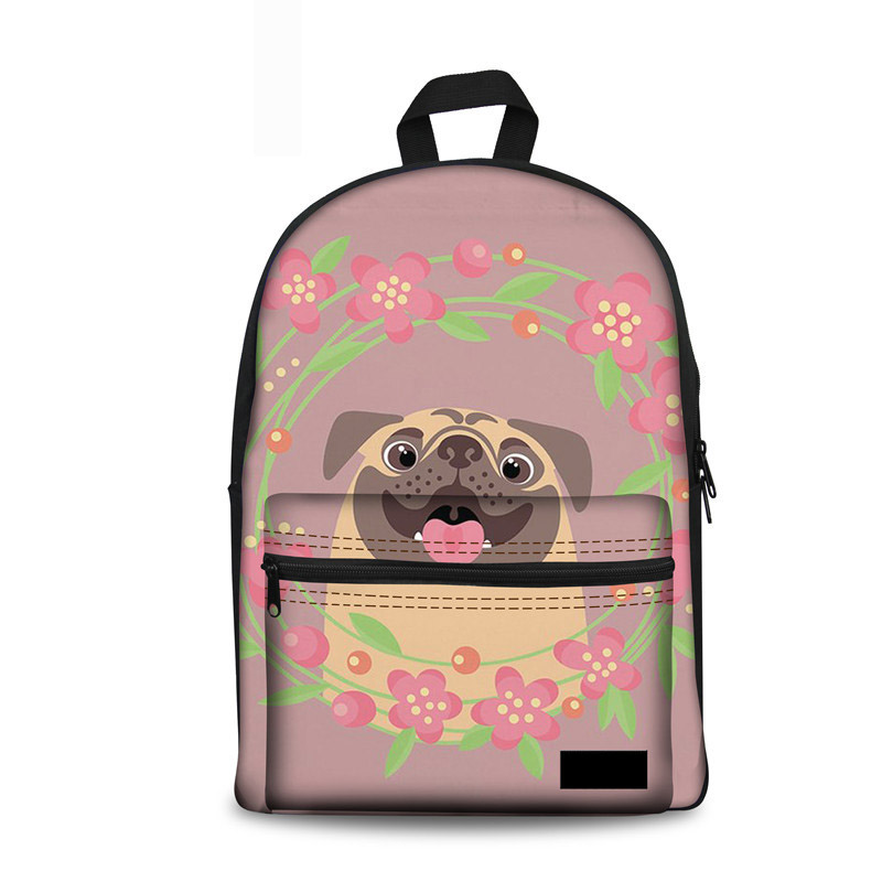 Canvas School Bag For Kids Girls Cute Cartoon Pugs Print Teenager Schoolbag Backpack Fashion Women Mochilas Escolares New