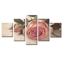Top Wall Deocr Canvas Painting 5 Pcs Pink rose flower Modern Printed Oil Pictures Beauty In Home Living Room No Frame or framed(China)