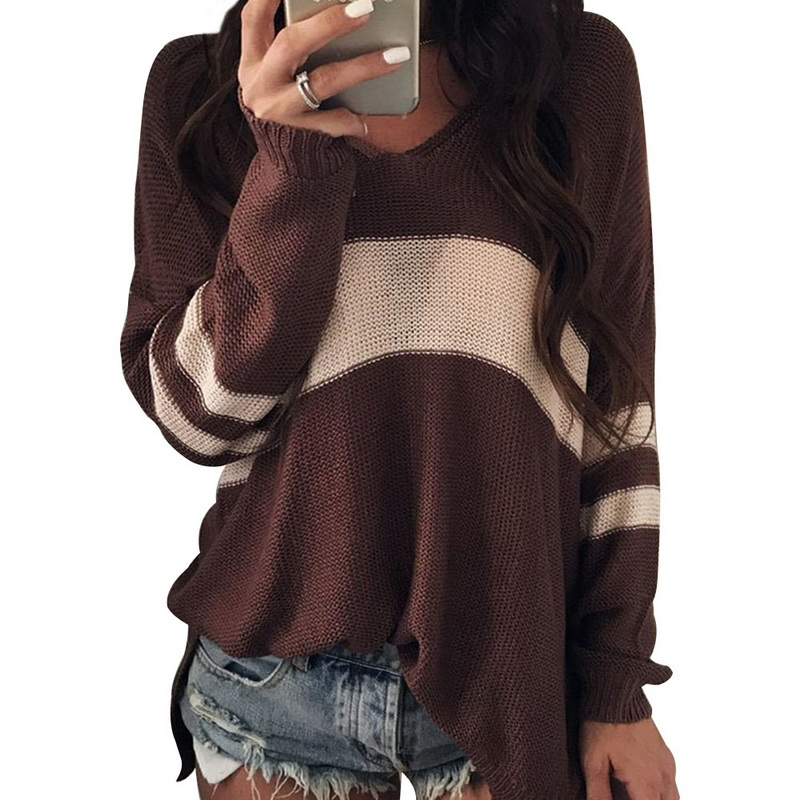 CALOFE 2020 Sexy Knitted Sweater Women Deep V-neck Knitwear Fashion Warm Pullovers Female Autumn Sweater Jumper Femme Plus Size