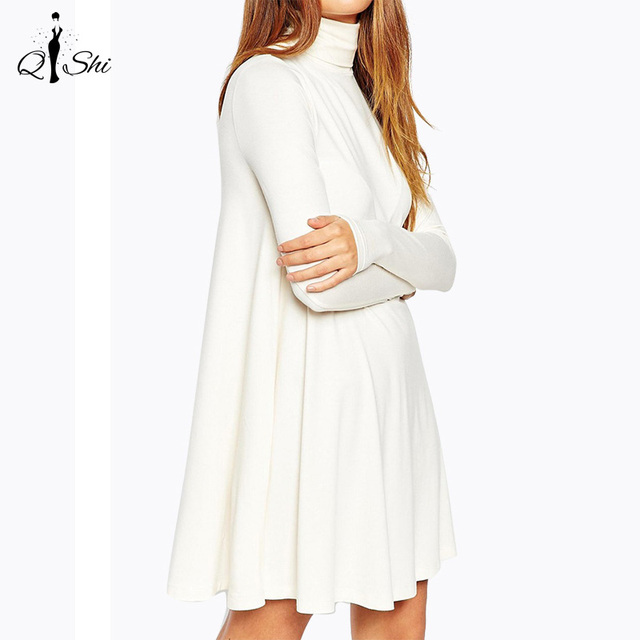 New Autumn Winter Women Dress White Turtleneck  Long Sleeve Casual Dresses Fashion Ladies Club Party Dress Plus Size Vestidos