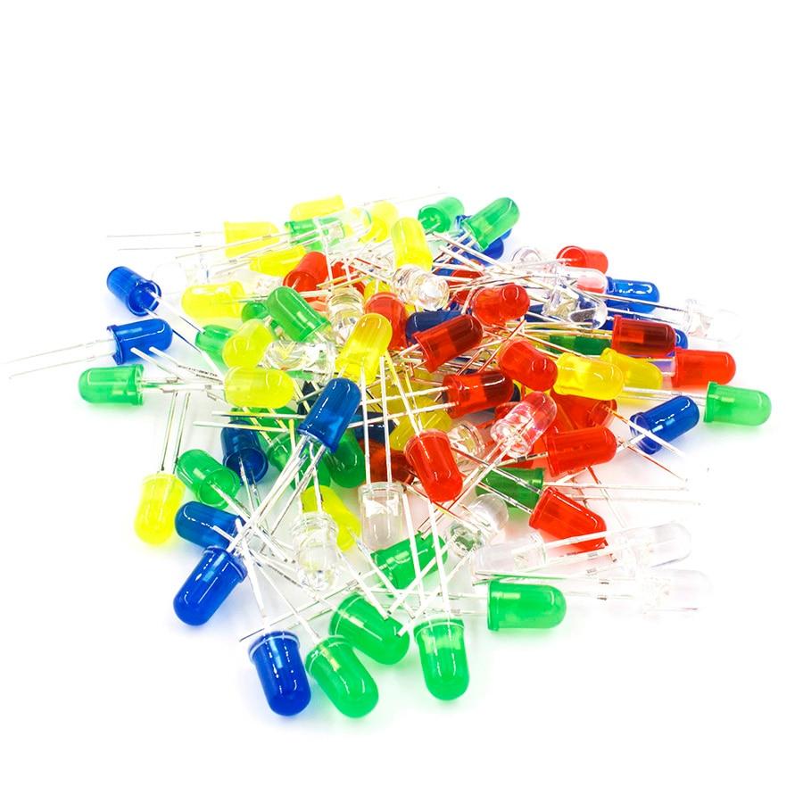 MCIGICM 100pcs 5mm LED Diode Light Assorted Kit DIY LEDs Set White Yellow Red Green Blue Electronic Diy Kit Hot Sale