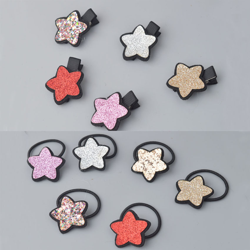 Glittle Lovely five star Elastic Hair Rope Ties Hairband   Headwear   Elastic Rubber Bands Kids Hairpins Hair Accessories