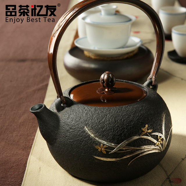 Flower Pattern Cast Iron Teapot Set Japanese Tea Pot