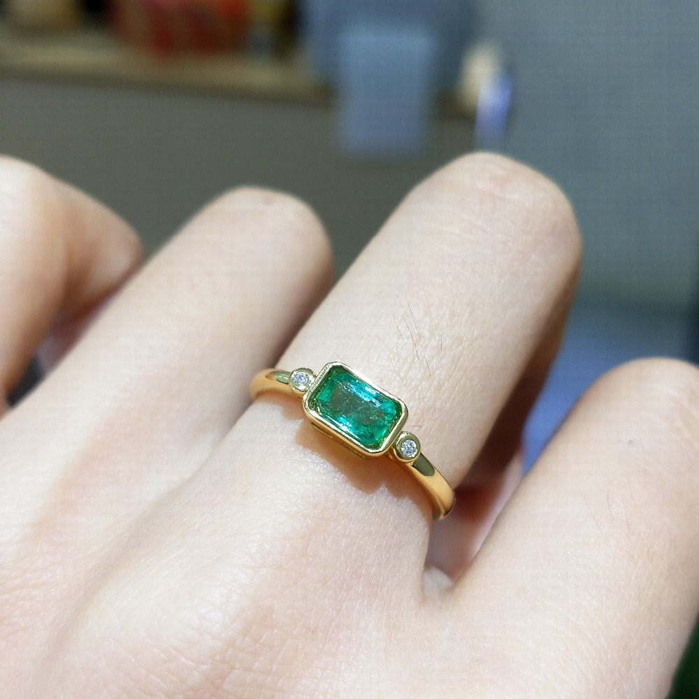 FLZB , 0.65ct 100% Natural Emerald Gemstone Rectangle 4*6mm In 925 Sterling Silver With 18k Yellow Gold Plated Trendy Ring