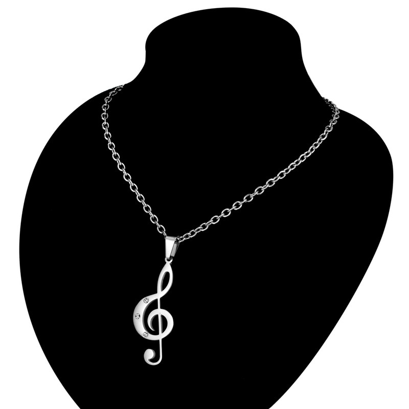 Treble Clef Necklace & Pendant Stainless Steel-1
