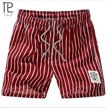 Новый бренд быстросохнущая летние мужские пляжные шорты в полоску повседневные плюс размер мужские домашние шорты # B0